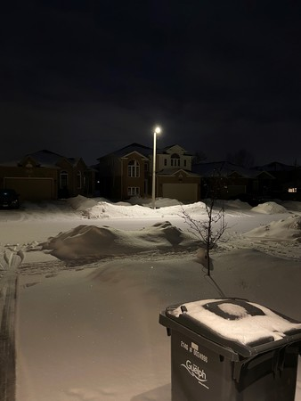 LED street light in winter